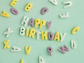 Letters spelling out HAPPY BIRTHDAY, and individual letters