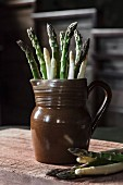 Green and white asparagus in a clay jug