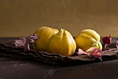 Quinces with autumn leaves
