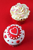 Two cupcakes with hearts for Valentine's Day