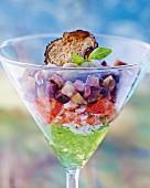 A verrine of crab, aubergine and lemongrass jelly