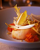 Scallop with frisée lettuce and carrots