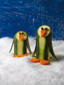 Courgette penguins with carrots