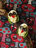 Stuffed eggs with owl's faces