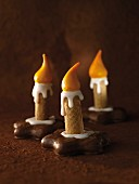 Candle biscuits (wafer rolls on chocolate-coated gingerbread)