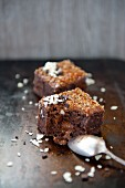 Chocolate slices with chocolate creme filling