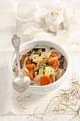 Christmas soup with dried mushrooms and quadratini pasta