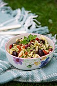 Mediterranean pasta salad with black olives