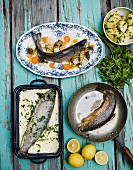 Three different trout dishes with parsley potatoes
