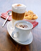 Latte macchiato with vanilla and cappuccino