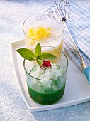 Sparkling wine & mint granita, and granita with exotic fruits