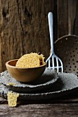 Parmesan crisps in a wooden bowl