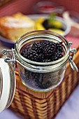 Fresh blackberries on a picnic hamper