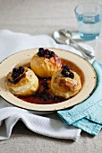 Baked apples with blackberry filling