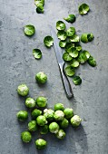 Brussels sprouts with discarded leaves