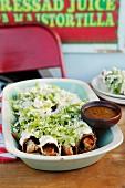 Flautas (tortilla rolls with chicken, Mexico)