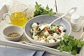 Mozzarella salad with oregano, capers and chilli