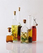 Various flavoured oils in bottles
