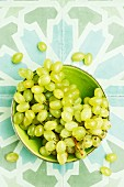 Green grapes in a bowl, from above