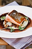 Artic Char with Mushrooms and Mashed Potatoes and a Reduced Sauce