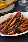 Roasted Carrots with Onions Caramelized in Red Wine