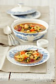 Minestrone with savoy cabbage and beetroot