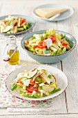 Pasta salad with courgette, tomatoes and anchovy