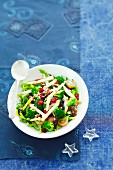 Broccoli salad with cranberries, grapes and pears, for Christmas