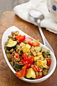 Lentil salad with grilled peppers and courgette