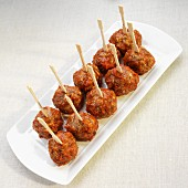 Tapas Meatballs with Wooden Skewers