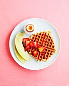 Breakfast Waffle with Strawberries and Honey Melon