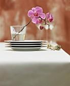 Tellerstapel und Silberbesteck neben Glas mit violetten Orchideenblüten