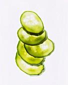 Cucumber slices, backlit