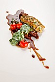 Surf and Turf: halibut and oxtail with creamed spinach, cherry tomatoes and oxtail jus