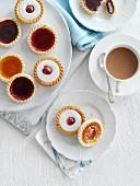 Jam tarts with a cup of tea