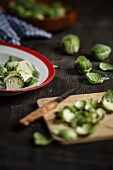 Cleaning and slicing brussel sprouts
