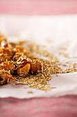 Nuts with honey and dried rosemary