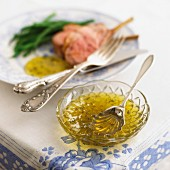 Lime and mint jelly as an accompaniment to lamb chops