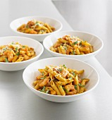 Penne with king prawns and cheese
