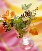 Bouquet of marjoram and nasturtium flowers