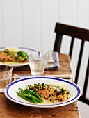 Salmon with lemon-chili crust and green beans