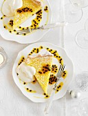 Two pieces of lemon-passion fruit tart (Christmas)