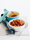 Noodles with ground beef sauce and tomatoes