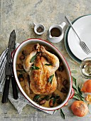 Roast chicken with sage and bacon in cream sauce