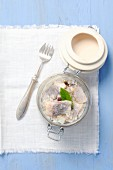 Pickled herring morsels with onions