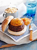 Burger with Sweetcorn Relish and Coleslaw