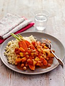 Carrot Chickpea Stew with Couscous