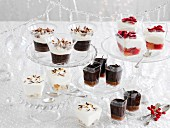 A buffet with assorted Christmas desserts