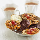 Florentines with chocolate icing for tea time