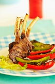 Grilled lamb chops with green and red peppers
